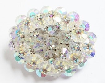 Sparkly Vintage Huge Oval Aurora Borealis  Crystal Brooch Pin