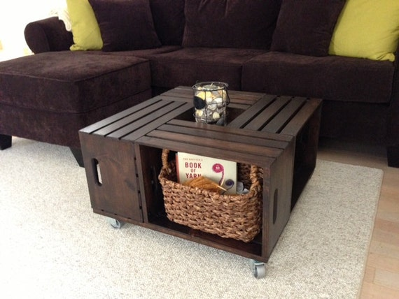 Items Similar To Wooden Crate Coffee Table On Etsy