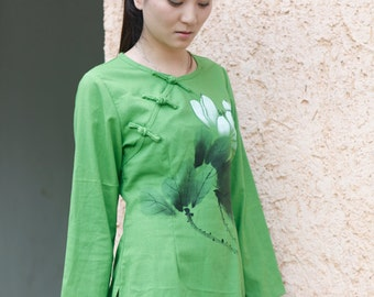 Hand Painted Long Sleeve Women's Shirt Green Blouse Fashion Style