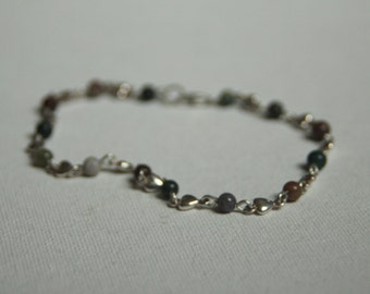 Silver Heart and Mixed Jasper Anklet