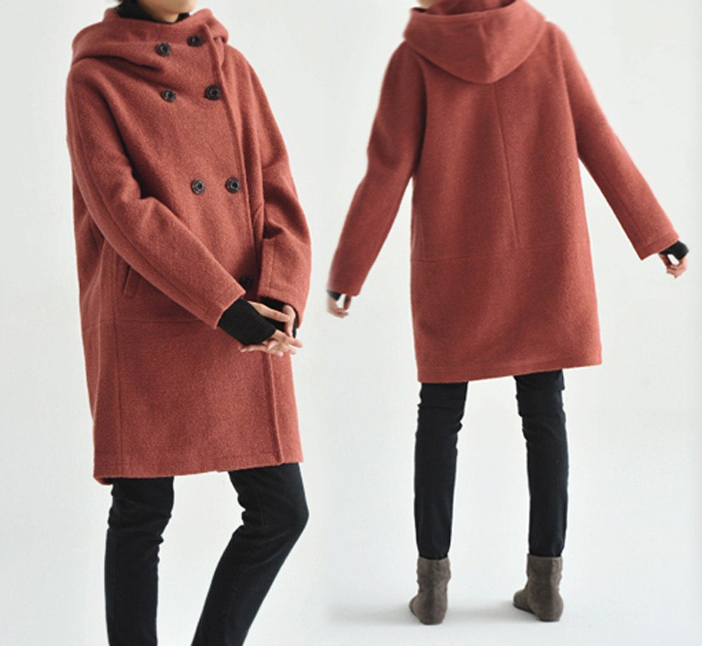 107Hooded Women's Double Breasted Boiled Wool Cocoon