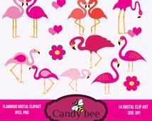 Flamingo Clipart Digital Illustration Flamingos love clip art Flamingo in love SAJ-235