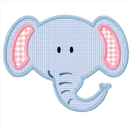 Baby Elephant Applique Machine Embroidery Design INSTANT