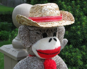 Sock Monkey Cowboy Straw Hat Handmade Accessory BopBo the Monkey