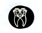 Geometric White Tooth on Black Round Acrylic Brooch. Geometric Diamond within the Tooth Brooch. Unusual Item. Limited Stock at Great Price.