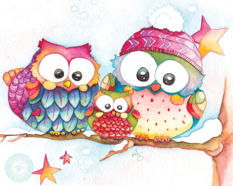 Cute owl art for winter winter watercolor owl print baby for Cute watercolor paintings