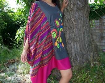 Handmade cape sleeve Embroidery native shift dress
