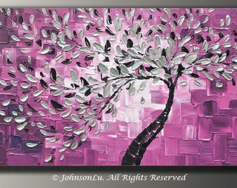 Original modern abstract landscape thick textured impasto palette knife silver flowers tree oil painting on 40x20 Canvas Ready to Hang