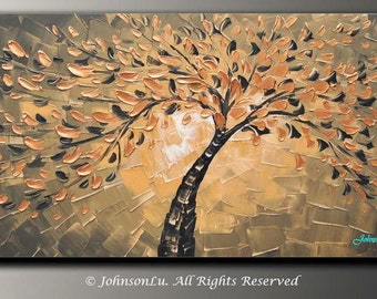 Original modern abstract landscape thick textured impasto palette knife Golden flowers tree oil painting on 40x20 Canvas Ready to Hang