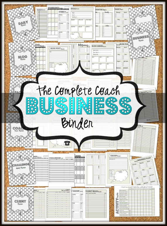 sale coach business and social media binder  schedules