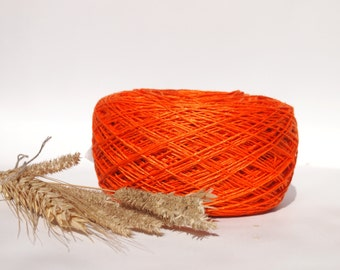 Linen Yarn, High Quality, #013 Orange Linen Yarn, Linen Yarn For Crochet, Knitting, 100 g/ 3.5 oz