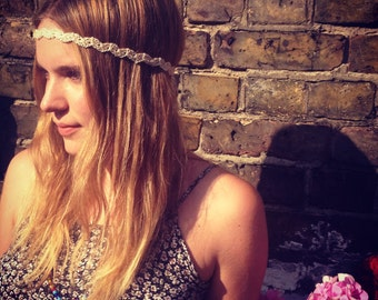 Hippy crochet headband, Head ribbon zig zag design, Indie crochet headband