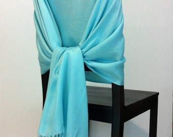 AQUA PASHMINA, Aqua Pashmina Scarf, Aqua Pashmina Shawl, Wedding Shawl, Pashmina Wrap, Bridesmaid Shawl, Wedding Favors, Aqua Chair Covers