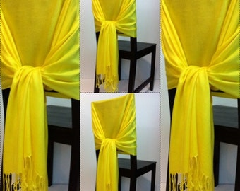 4 yellow pashmina ,4 yellow  pashmina scarf, pashmina shawls, wedding shawls, pashmina wrap, bridesmaid shawls, wedding favors, chair covers