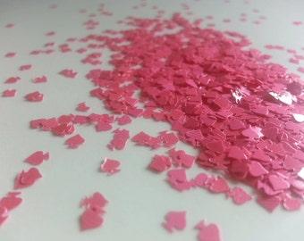 solvent-resistant glitter shapes- pink spades