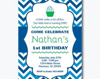 PRINTABLE Chevron Cupcake 1st Birthday Boy Invitation