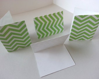 Sets of 4 - Green and White Chevron Folded Gift Tags
