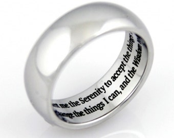 Serenity Prayer Ring, Prayer Ring, Wedding Bands. Wedding Jewelry, Gifts for Her, Gifts for Him