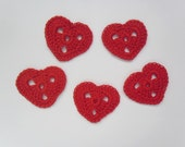 Red Heart crochet applique, set of 5 - Valentines Day - elcrochet
