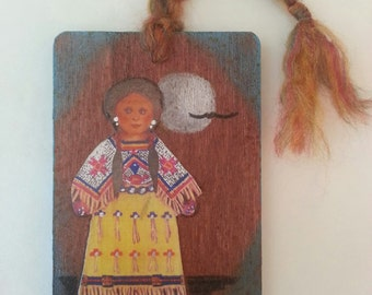 Sioux Girl Wood Ornament