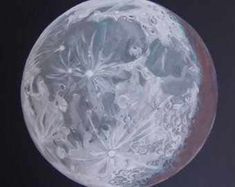 """Moon Portrait 2, 12""""x12"""" Acrylic Painting on Stretched Linen"""