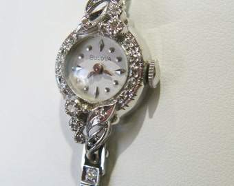14k White Gold Diamond Bulova Watch