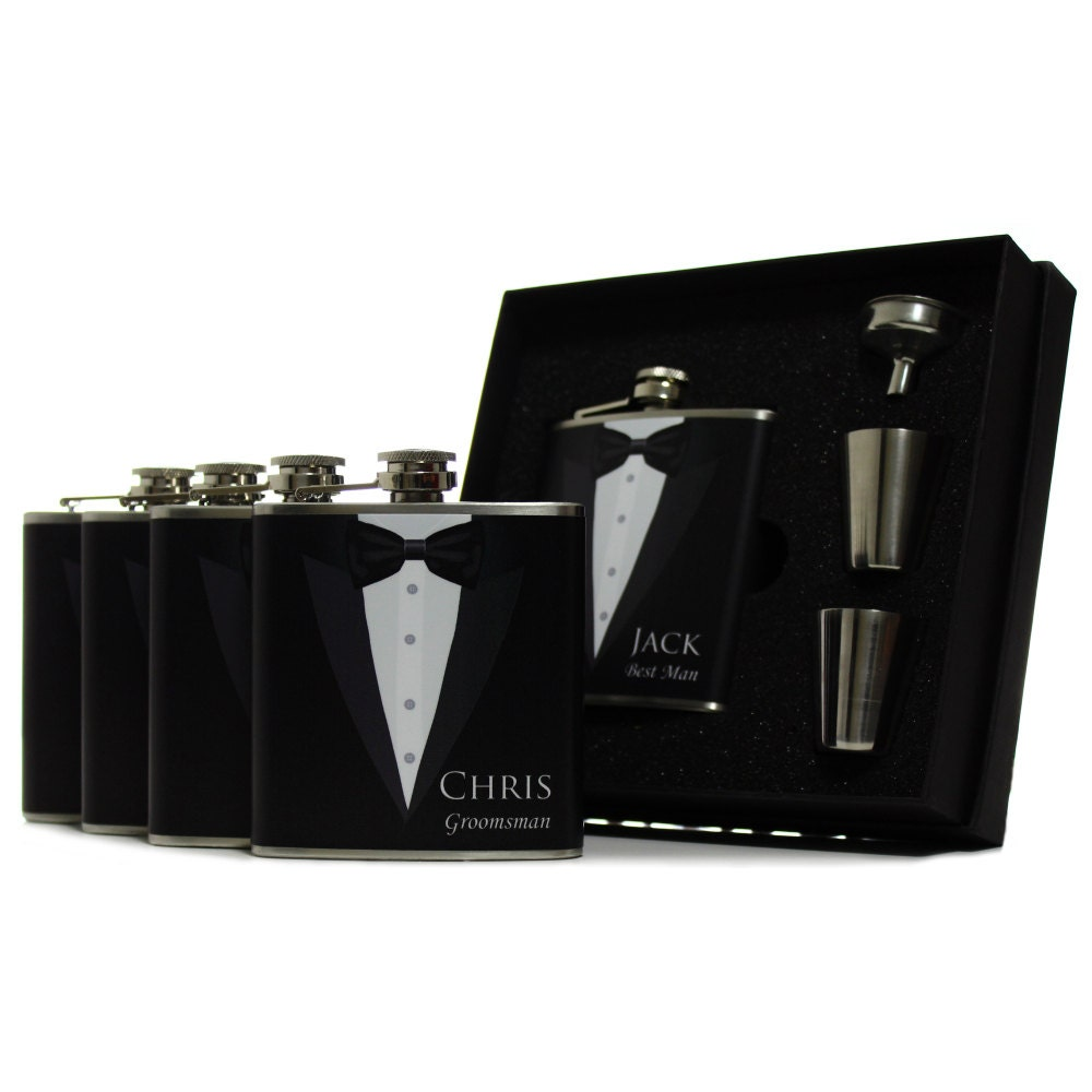 Unique Wedding Gifts For Groomsmen: Custom Groomsman Gifts Personalized Flasks For Men Set Of 4