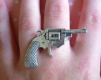 Retro Rock Revolver Gun Charm Ring, Silver, Armour, Cute, Kitsch