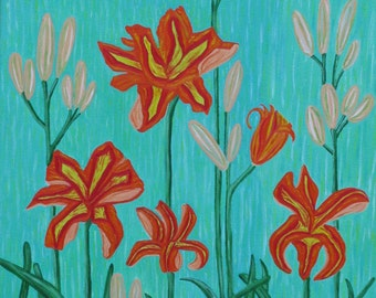 Daylilies Original Canvas Painting