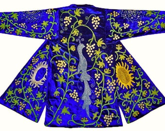 "wonderful uzbek silk embroidered robe chapan ""spring garden"" a2057"