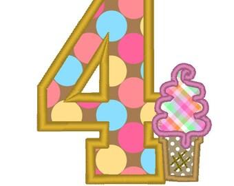 Ice Cream Cone Birthday Girl - Embroidery Machine Pattern - Fourth Birthday 4 4th