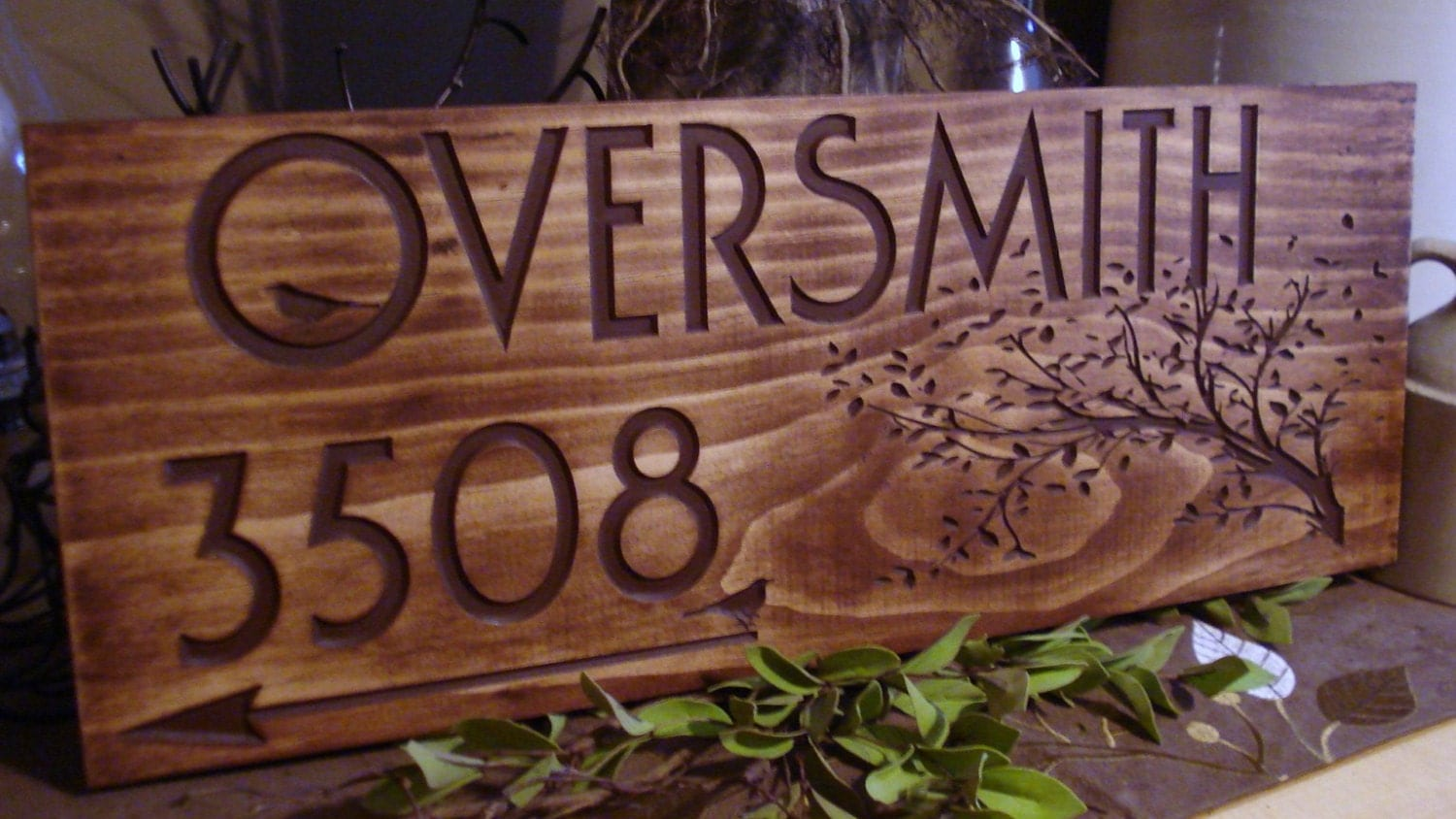 Custom wooden address sign carved address plaque house number - Decorative house number signs ...