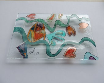hand painted fused glass plate, fused plate, glass plate, painted plate, home decor, soap dish plate, glass soap dish,