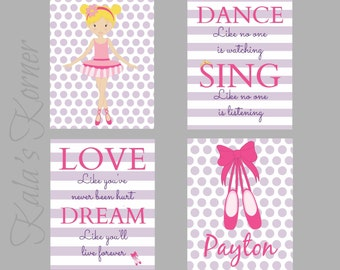 BALLARINA NURSERY DECOR - Ballerina Nursery Art - girl nursery, Ballerina nursery decor, ballerina playroom, children wall art