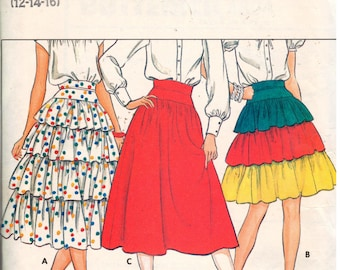 """SALE* Butterick 4804, Sz 12-16 (Hips 36-40""""). Vintage Misses flare or layered RUFFLE Skirt in multiple sizes, uncut, RARE."""