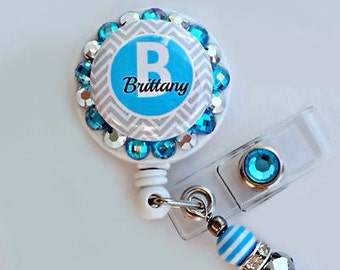 Blue chevron ID badge reel holder (E200)