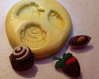Chocolate Stawberry and Truffles - 3 part Flexible Silicone Mold- for polymer clay, wax, sugar, etc.