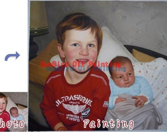 custom oil portrait painting,hand painted original portrait oil painting,Child portrait,kids oil portrait on canvas from photos,Two Person