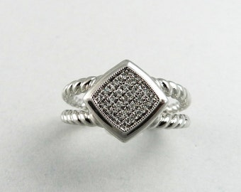 Natural Diamond Ring 925 Sterling Silver