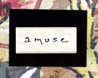 Nancy Curry Art  hand-lettered amuse rubber stamp