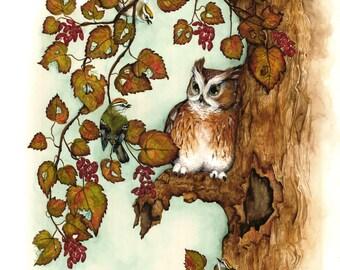 Owl Art  Watercolor Print ,  Painting , Bird Art