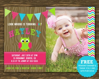 Pink Owl Birthday Invitation - Printable - FREE pennant banner and thank you card with purchase