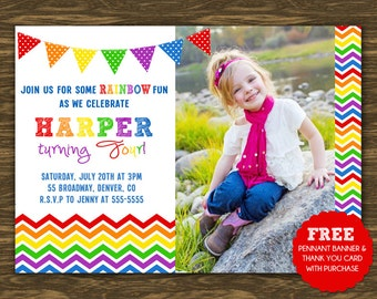 Rainbow Birthday Invitation - Printable - FREE pennant banner and thank you card with purchase