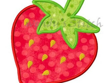 Strawberry applique machine embroidery design digital pattern