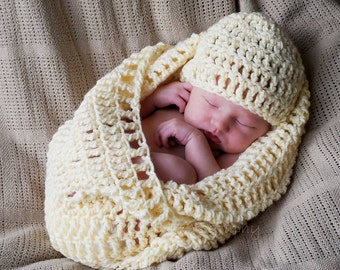 Crochet Baby Burrito and Cocoon Sets
