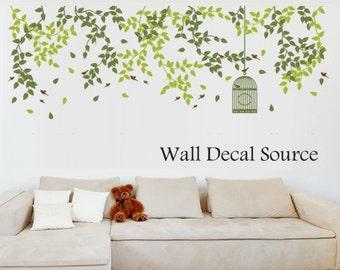 Hanging Vines Wall Decal - Bird Cage Vinyl Sticker