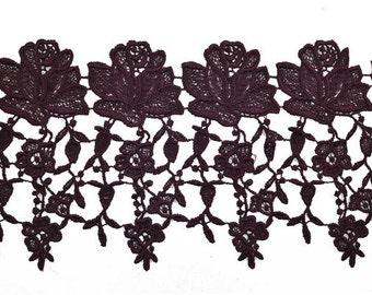 Venise Flower Lace Ribbon Trim for bridal, apparel, home décor, 5-1/4 Inch by 1 Yard, PLUM, ROI-1926