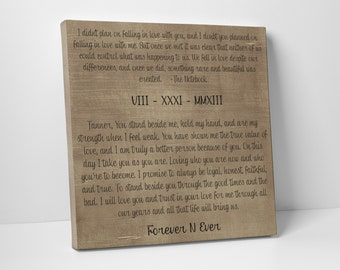 Wedding Vows, For Him, Wedding Vow Art - Valentines Day Gift