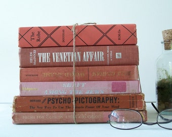 Vintage Book Collection FREE SHIPPING Coral Red