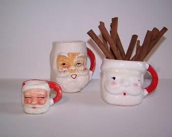 FREE SHP Vintage Mismatched Santa Mug Collection Instant Display Christmas Home Decor